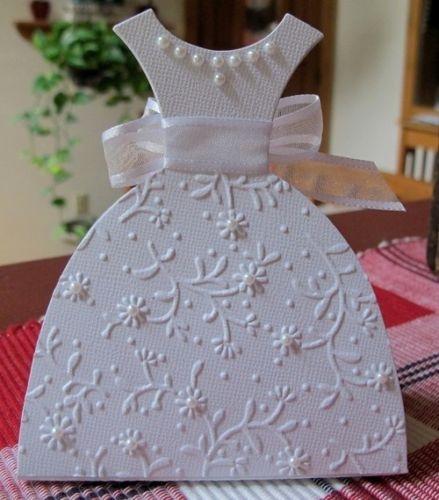 Cute wedding dress card: Wedding Dressses, Cards Ideas, Wedding Dresses, Dress Card, Bridal Shower Cards, Dresses Cards, Favors Boxes, Big Shots, Bridal Shower Favors