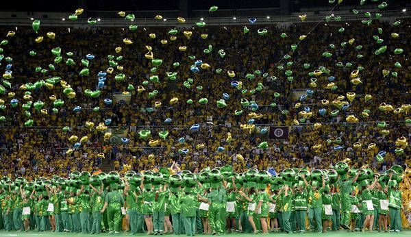 Balloons galore at opening ceremony of Confederation Cup.