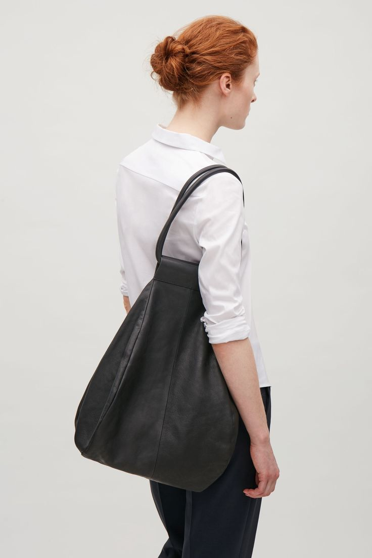 COS image 5 of Folded leather shopper  in Black
