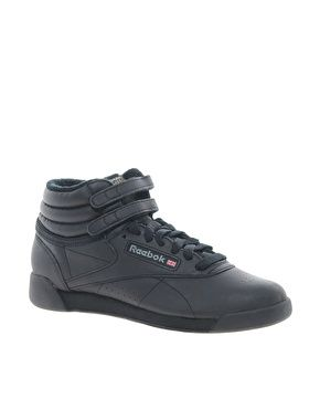 Image 1 ofReebok Freestyle Black High Top Trainers