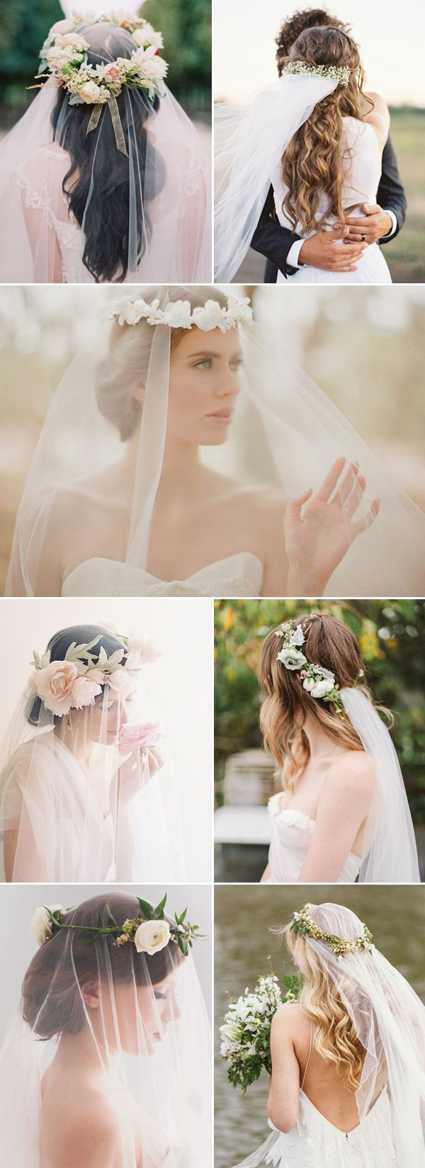 26 Bridal Hairstyles that Look Good with Veils! - Flower crown!