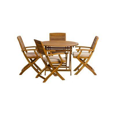 Debenhams Acacia wood 'Panama' round garden table and 4 carver chairs | Debenhams