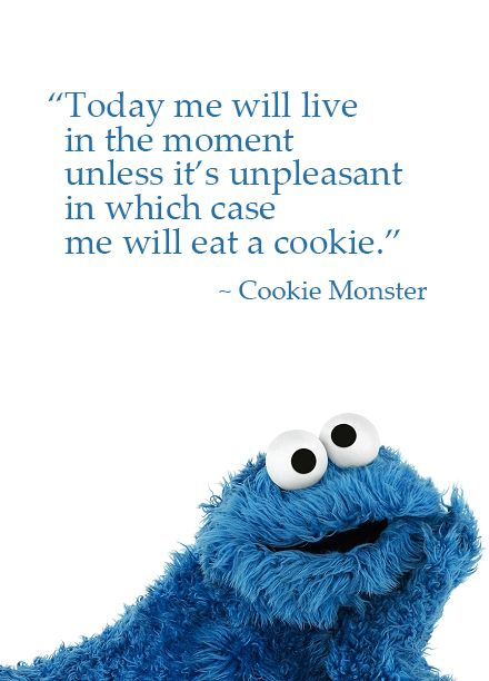 'Today Me will live in the Moment, unless it is Unpleasant, in which case I will eat a Cookie', Cookie Monster Quote. I'm with you : )