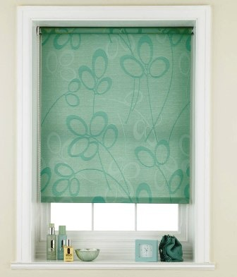 kids bathroom teal roller blind in bathroom