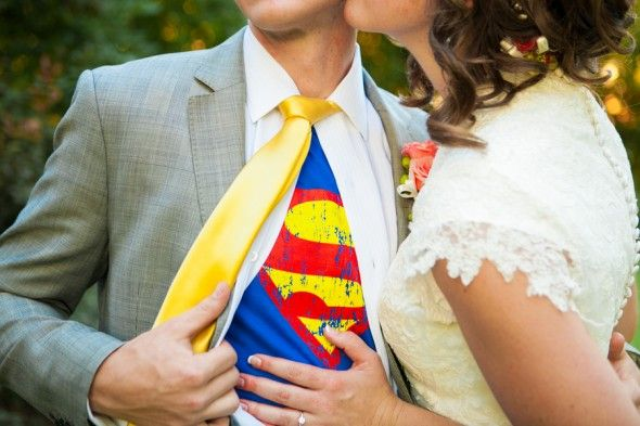 """Superman groom! We love the superman shirt under the wedding shirt. Photography by: Carrie Butler Photography"""