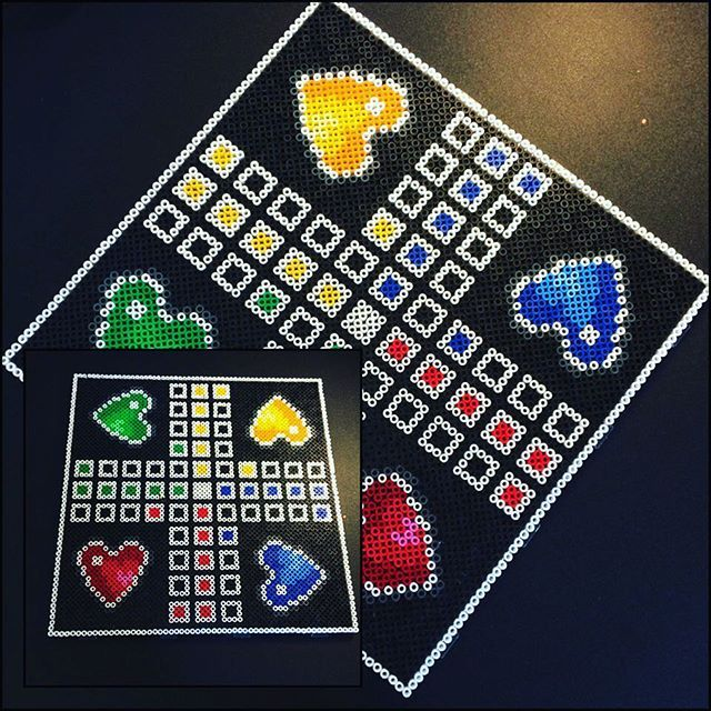 Heart ludo board game hama beads by beads_by_saja