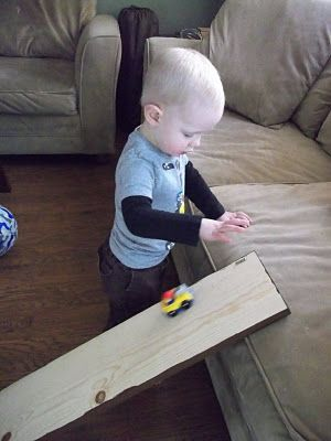 i'm going to make it (after all): 100 (Attempted) Ways to Entertain a Young Toddler, Day 65: Car Ramp...so simple, K would love it!