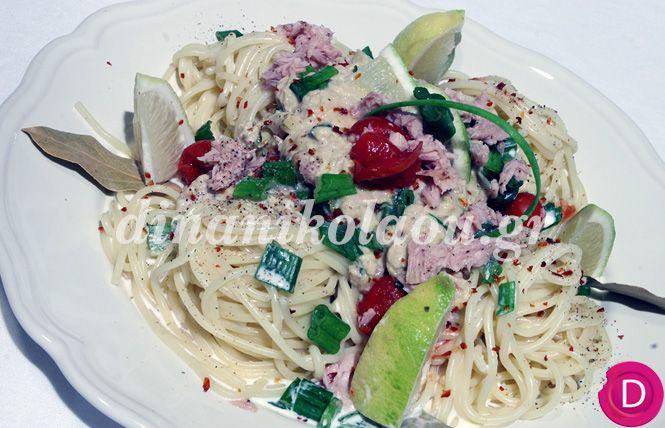 Σπαγγέτι με σάλτσα από τόνο και γιαούρτι   Dina Nikolaou