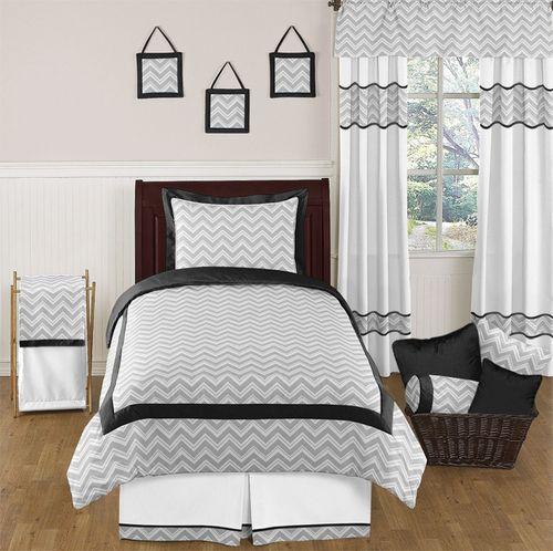 Best Black And Gray Zig Zag Kids Twin Bedding Set By Sweet Jojo 400 x 300