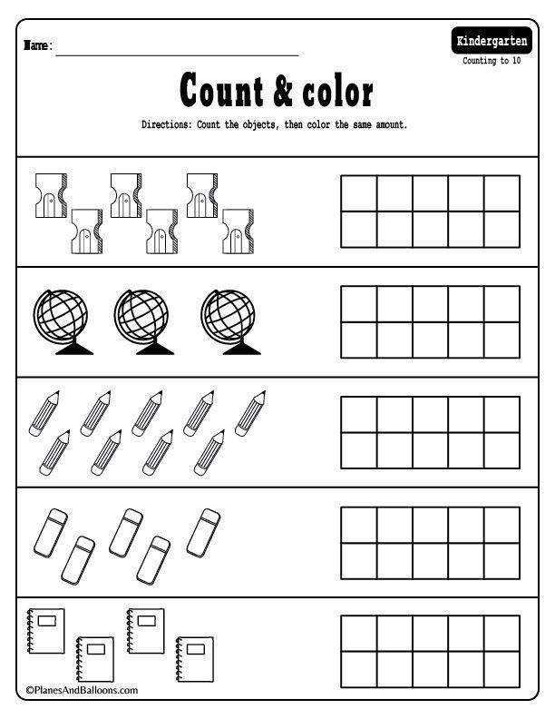 Kindergarten Math Coloring Worksheets Pdf