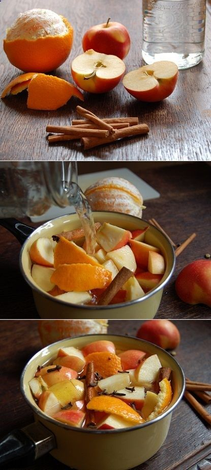 The Perfect Fall Potpourri The peel of 1 Orange - 1 cut up Apple -1T cloves - 2 Cinnamon Sticks - 1 T Vanilla - 1T Almond Extract -1.5 C Water. ~Simmer and enjoy ;-)