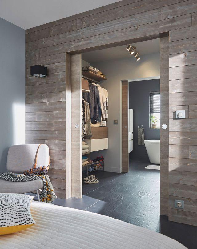 Idée décoration Salle de bain  Porte en bois Summa matrix écru 73 cm. Système de rail et poignée non inclus.