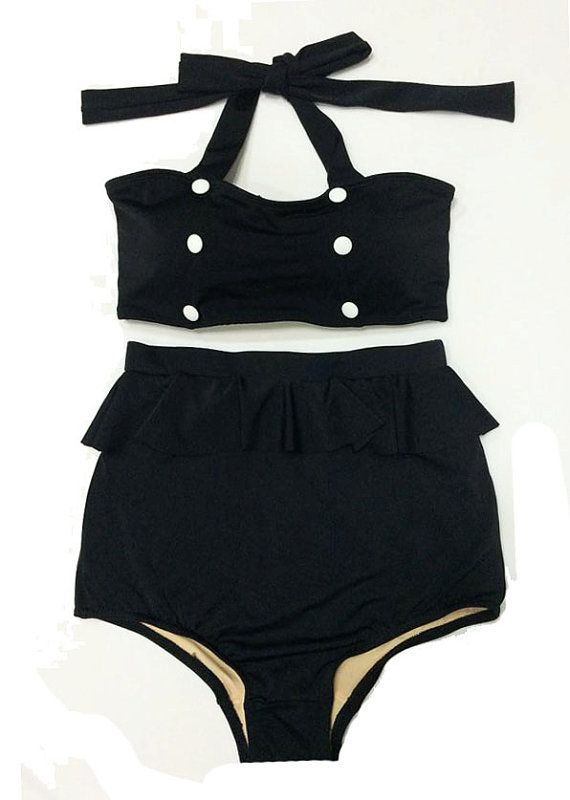 Black with Buttons Top Vintage Retro High Waisted Shorts Bottom Handmade Swimsuit Swimwear Swimsuits Swim Bathing suit suits Playsuit S M on Etsy, $39.99