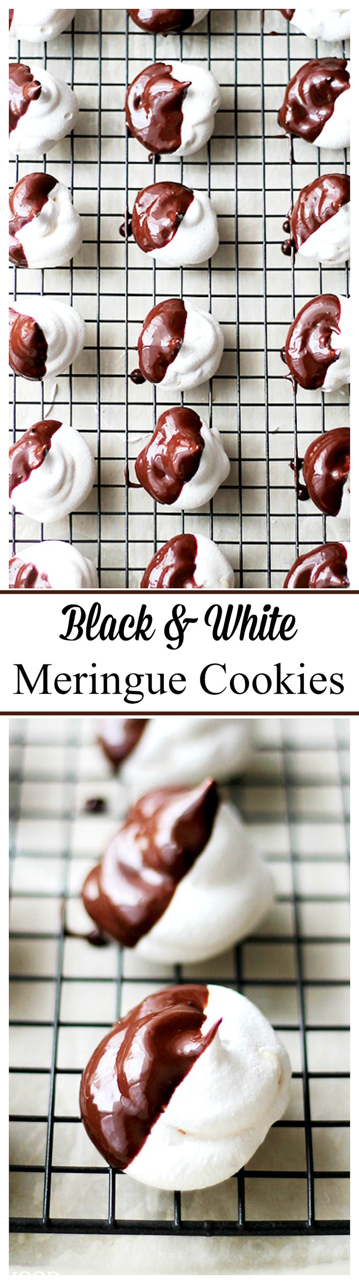Black and White Meringue Cookies   www.diethood.com   Sweet, light and crisp, these Meringue Cookies are so wonderful and so delicious, and they're only 30 calories! PERFECT for your Easter dessert tray!!