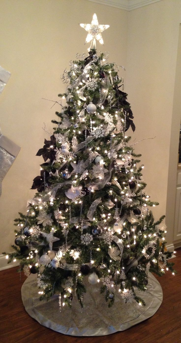 silver christmas tree white silver and black tree blue spruce 11586