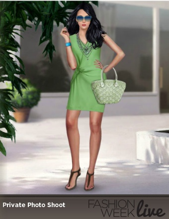 Today's model is wearing:  -- Jet flat thong sandals  -- Light green wrapped mini dress  -- Two-tone tinted sunglasses  -- mint green beach bag