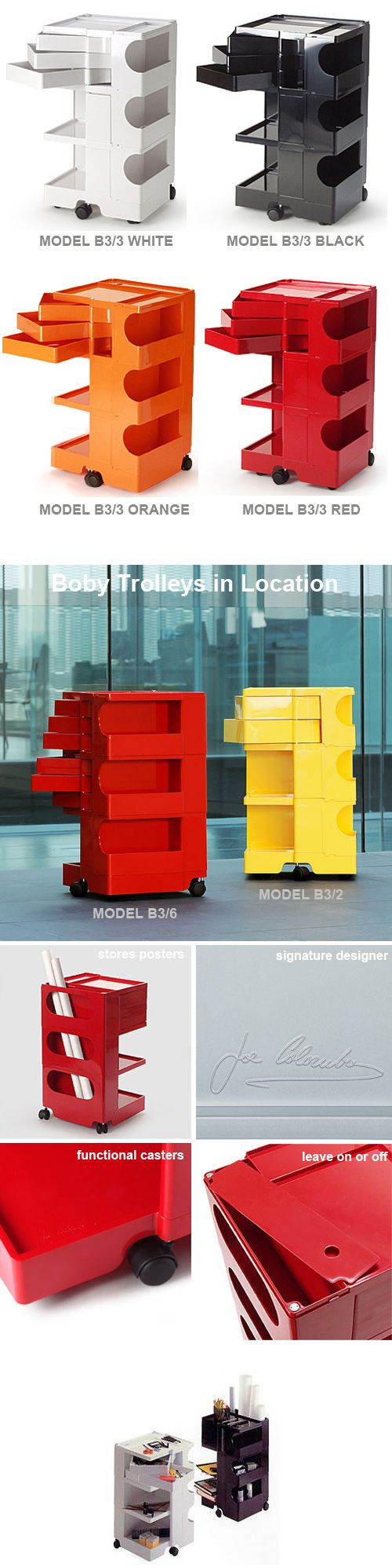 Joe Colombo: Boby Storage Trolley Office Organizer 3/3 Three Sections High  With Three
