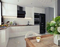 Kuchnia z salonem 32 m2 - Średnia otwarta kuchnia w kształcie litery l, styl minimalistyczny - zdjęcie od Fi Design