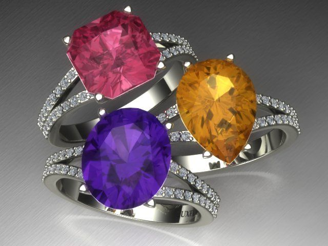 Baillache setting - diamond micropavè customizable setting for a gemstone cocktail ring from Luxedogems.com