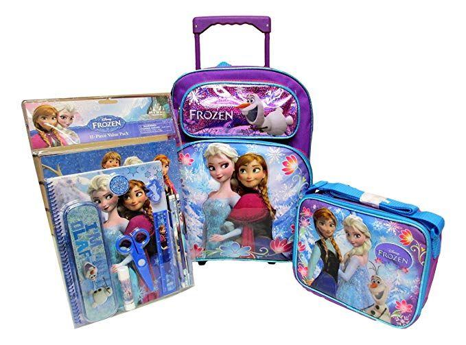 *NEW* Kids Elsa rolling backpack come with lunch box and pencil case