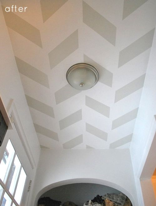 Great hallway or small space ceiling paint idea... full project here: http://www.designsponge.com/2012/03/before-after-hallway-ceiling-makeover.html