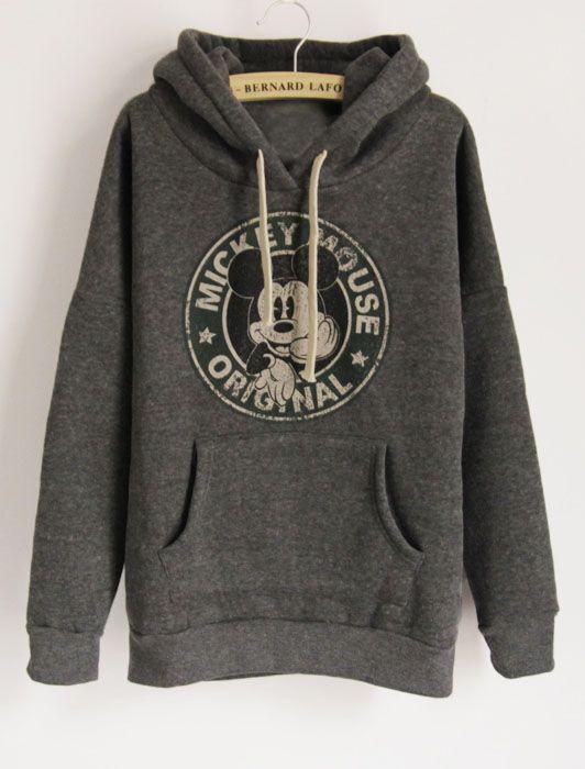 Dark Grey Long Sleeve Hooded Mickey Print Pockets Sweatshirt R$78.27