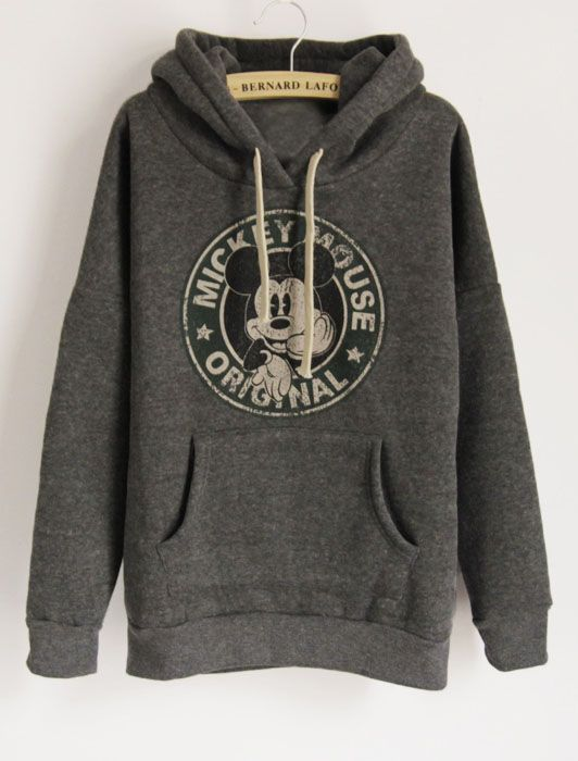 Dark Grey Long Sleeve Hooded Mickey Print Pockets Sweatshirt - Sheinside.com
