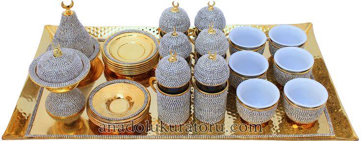 Bakır Kahve Fincan Takımı, Kristal Kaplama, 12 Kişilik, Altın Renk
