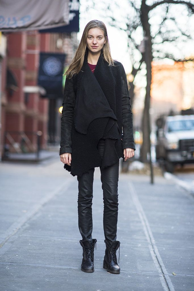 Sure, it's simple, but this all-black look scores points with a little leather and a pair of tough-girl boots.