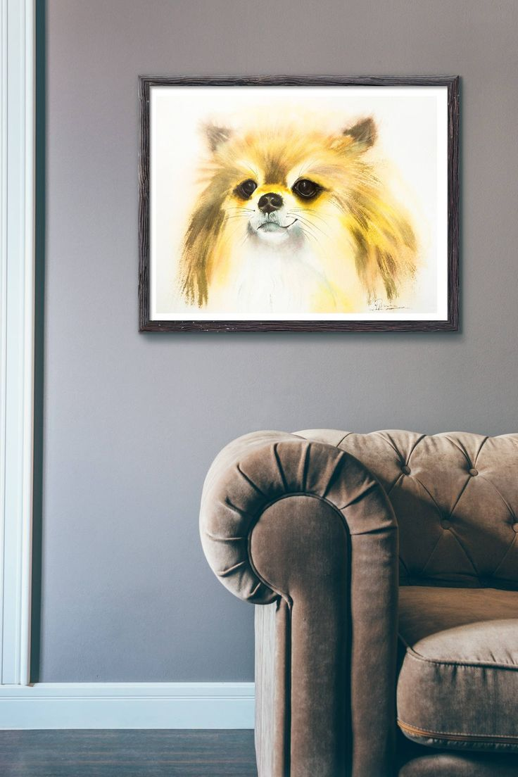 Excited to share the latest addition to my #etsy shop: Yellow dog Print Watercolor puppy nursery decor pomeranian gift funny dog art wall dog http://etsy.me/2iEkSjZ #art #print #giclee #yellow #birthday #brown #printpuppy #puppynursery #nurserydecor
