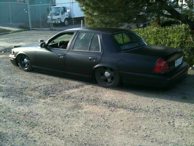 Dodge Charger police wheels on a Crown Vic.. Bagged.. Flat black.. | Crown Vics and my 2005 ...