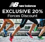 20% online discount at New Balance!  Simply quote the promotional code you can find on our website.  Join Rewards For Forces for free.