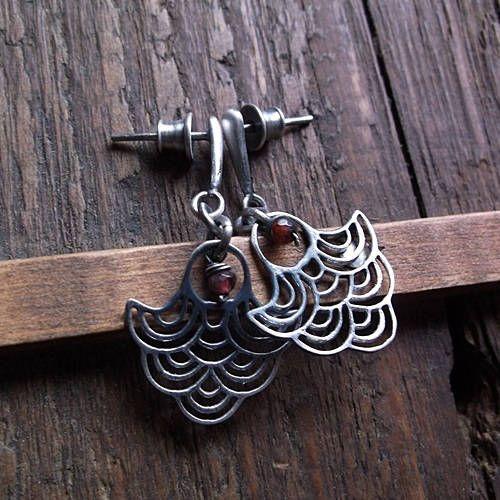 LITTLE GARNETS, garnet earrings, sterling silver, openwork, decorative elements, dangle earrings by pieceofmysoulArt on Etsy
