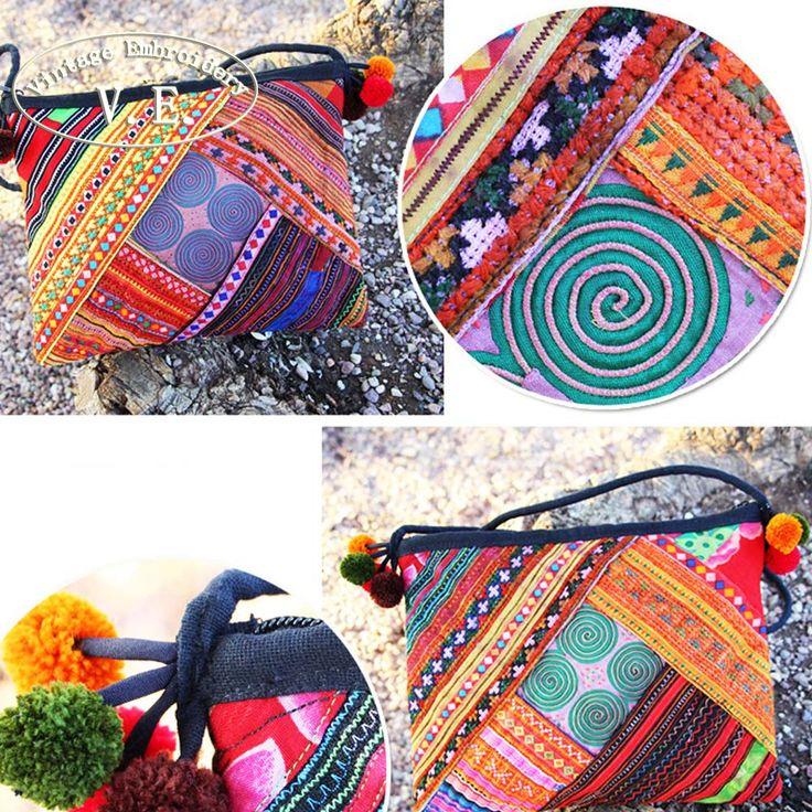 Bordado de la vendimia Bolsa de Mensajero de Las Mujeres de Boho Tailandia Nacional de Tela hecha a mano bordada Hombro bolsa de Viaje bolsa de Playa Bolsa de Embrague