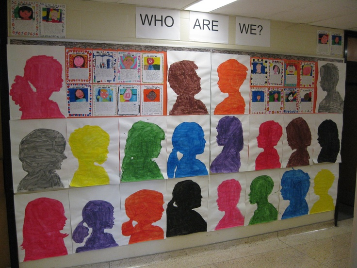 WHO ARE WE bulletin board display - we later cut these outs and drew/wrote/coloured mind maps about ourselves on the back and hung them from the wire in the classroom