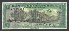 Paper Money 1964 Guatemala 1 Quetzal Bank Note