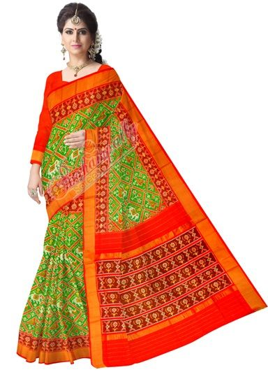ikat narikunj green color saree (2)