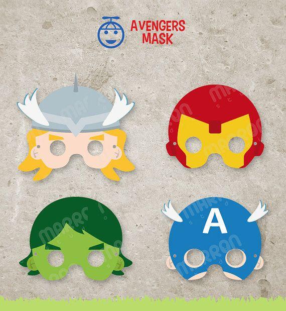 Superhero Inspired set Avengers Mask, Thor, Captain America, Iron Man and Hulk Printable for birthdays, Instant Digital Download via Etsy