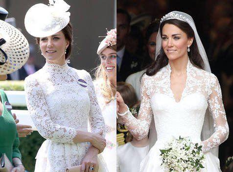 Tampil cantik dengan gaun putih, penampilan Kate Middleton benar-benar mirip di hari pernikahannya. Nggak percaya?, Fashion Kate Middleton, Pangeran William and Kate Middleton, British Royal Family, Fashion Selebriti