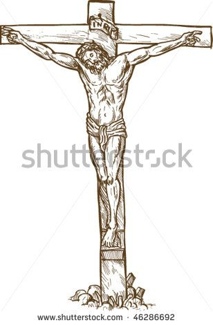 vector hand drawn sketch illustration of Jesus Christ hanging on the cross - stock vector #crucifixion #sketch #illustration