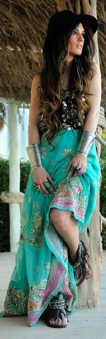 Green Boho Inspired Embroidered Maxi Skirt by Madame De Rosa