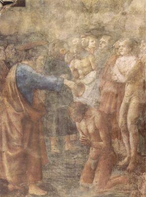 Masaccio: Freskenzyklus der Brancacci-Kapelle in Santa Maria del Carmine in Florenz, Szenen aus dem Leben Petri, Szene: Die Taufe eines Bekehrten
