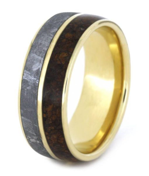 dinosaur bone ring with meteorite yellow gold wedding band - Dinosaur Bone Wedding Ring