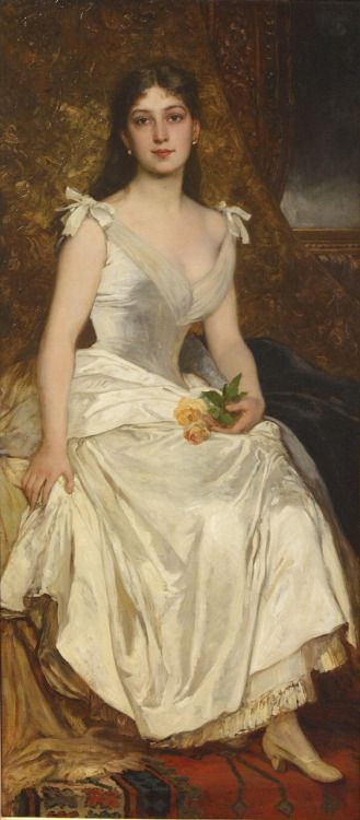 """Ilona Lotz in White"" by Karoly Lotz, 1880-1890"