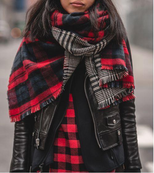 autumn, leather jacket, scarf