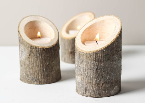 Tree Branch Candle Holders Set of 3 Short Angled- Rustic Wood Candle Holders, Tree Slice, Wooden Candle Holders, Wedding Centerpiece