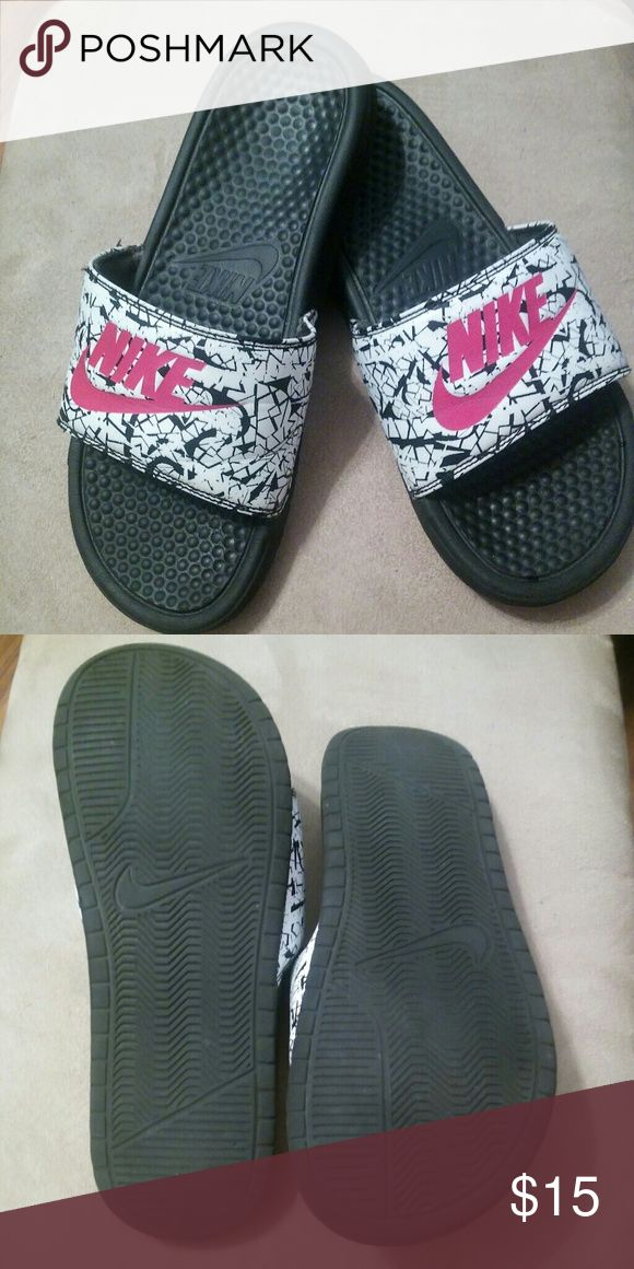 Women s Nike Benny Benassi Slides Black white and pink. These particular  print in no longer being made.👍😄 So these will stand out amo… db377d552