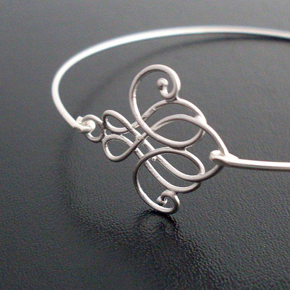 Skinny Bangle Bracelet Emima Silver Swirl by FrostedWillow