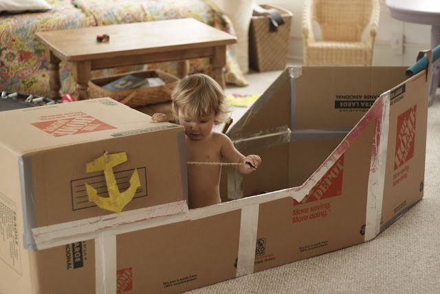 Buddy asked me several times last week to help him make a pirate ship. I remembered seeing this one on Pinterest, so I emailed a picture of it to my husband and asked if he would pick up a few cardboard boxes on his way home from work. These boys are so blessed to have a …