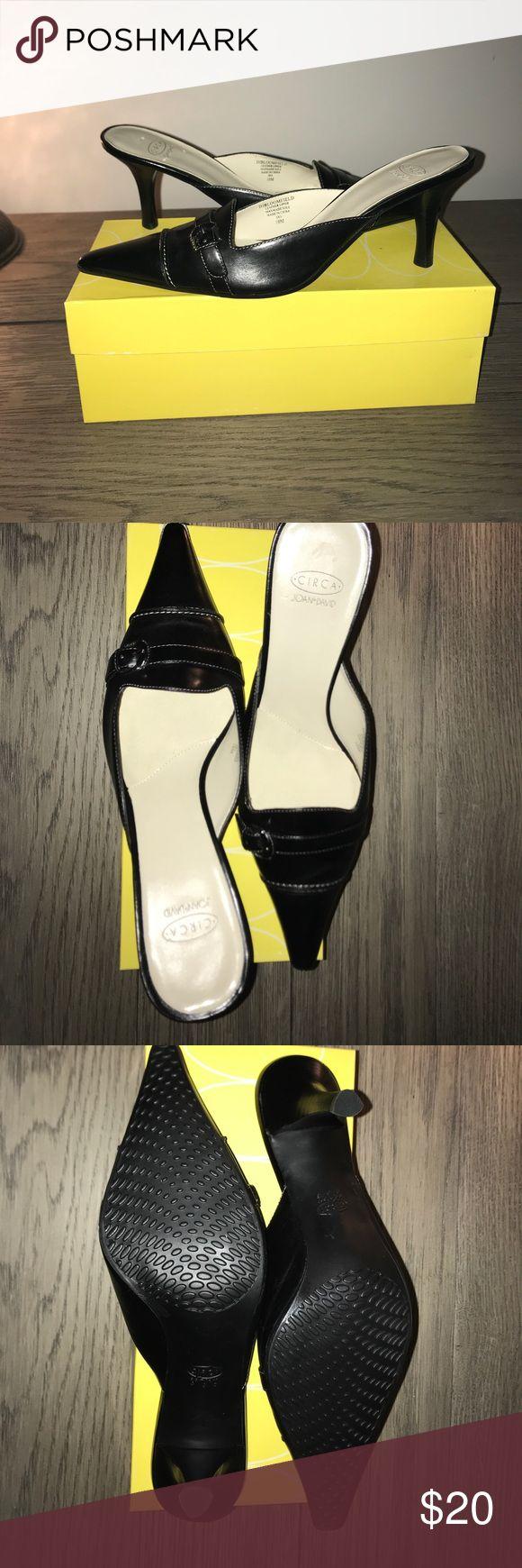 "Circa Joan and David Black leather slip-on Circa Joan and David, ""DJ Bloomfeld"" black leather slip on pumps.  Brand new, never worn! Joan & David Shoes Heels"